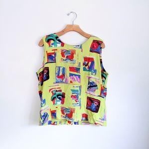 Vtg Neon Green Abstract Artsty Paint Print Tank L